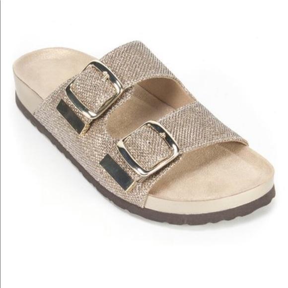 93c6ee8e0 White Mountain Shoes | Double Buckle Glitter Sandals | Poshmark